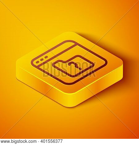 Isometric Line File Missing Icon Isolated On Orange Background. Yellow Square Button. Vector
