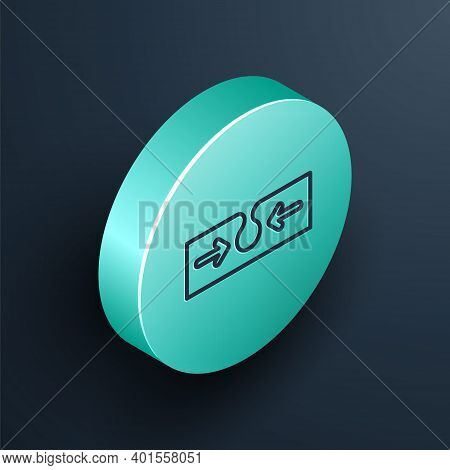 Isometric Line Acne Icon Isolated On Black Background. Inflamed Pimple On The Skin. The Sebum In The