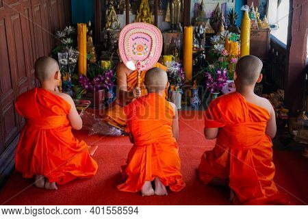 Ang Thong, Thailand - October 23, 2016 : Unidentified Asian Boy In Ordination Ceremony In Buddhist F