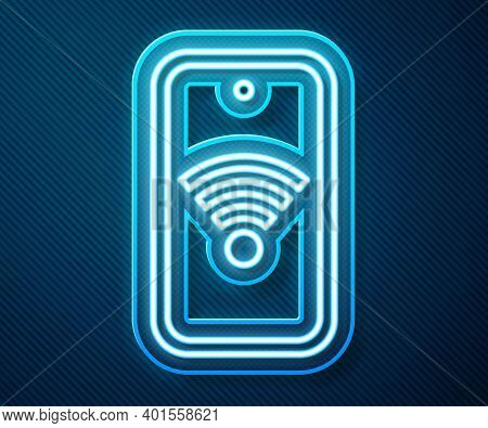 Glowing Neon Line Smartphone With Free Wi-fi Wireless Connection Icon Isolated On Blue Background. W
