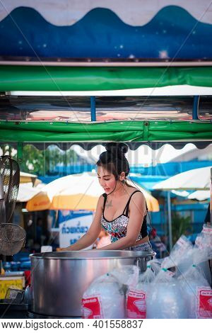 Samut Sakorn, Thailand - February 15, 2020 : Unidentified Asian Sexy Woman Chef Cooking A Noodle Sou