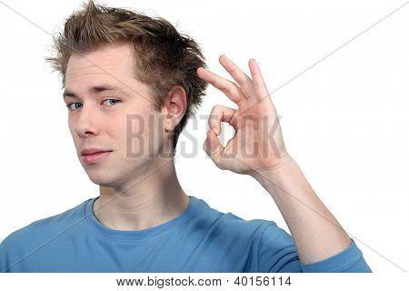Man making ok gesture
