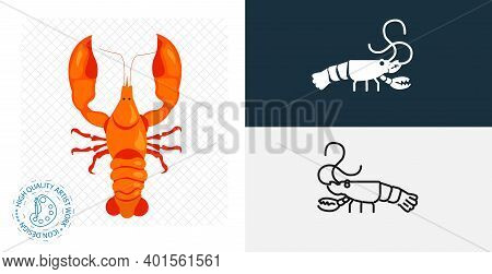 Crayfish Isolated Vector Icon. Animal Flat, Solid And Line Design Element