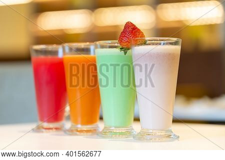 Choice Of Fresh Juices At The Cafe, Healthy Beverage