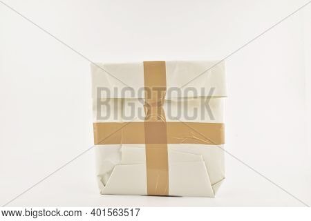 Taped Packet Isolated On White Background, Secure Parcel