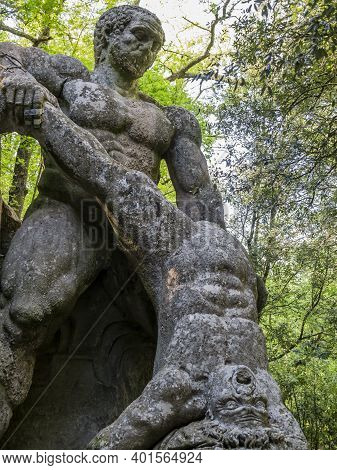 Huge Sculpture Depicting Hercules Fighting Cacus, Sacred Grove, Bomarzo Gardens, Province Of Viterbo