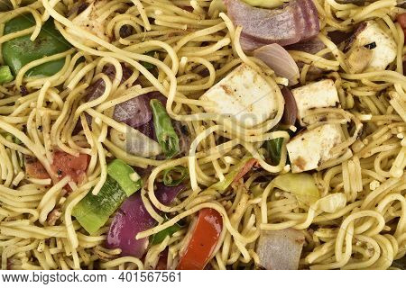 Top View Of Veg Chowmein, Chowmein Texture Background