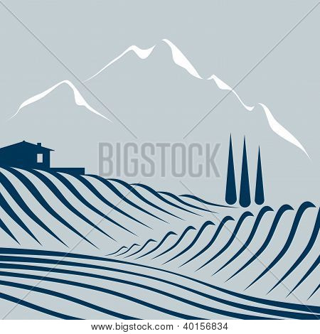 farmland and mountains