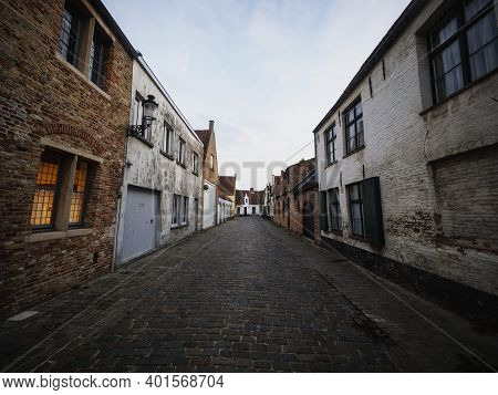 Panoramic View Of Brick Stone Building Houses In Historic City Center Of Bruges West Flanders Flemis
