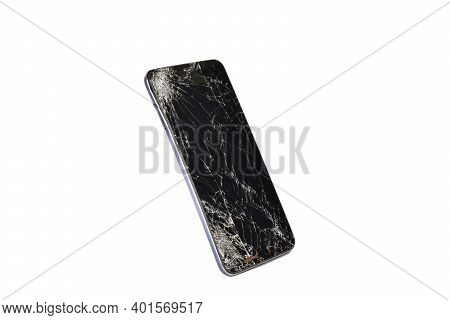 Broken Touch Screen Smartphone Isolated On White Background With Clipping Path