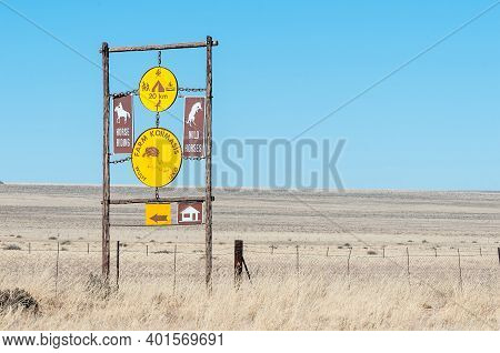 Koiimasis, Namibia - June 24, 2012: Information Board At The Entrance To Farm Koiimasis On Road C27