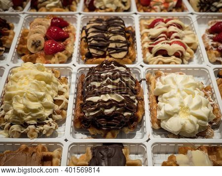 Classic Traditional Cuisine Belgian Waffles With Sweet Toppings Food Dish Dessert Cholocate Berries