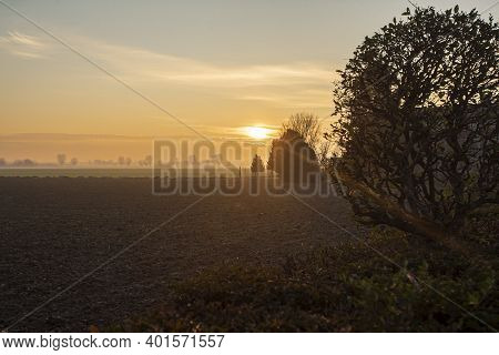 Beautiful Sunset In Countryside In Winter In North East Of Italy