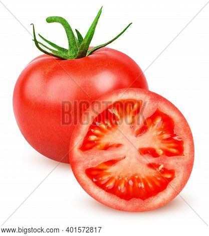 Isolated Tomato. One Whole Tomato And And Slice Of Fresh Tomato Isolated On White Background With Cl