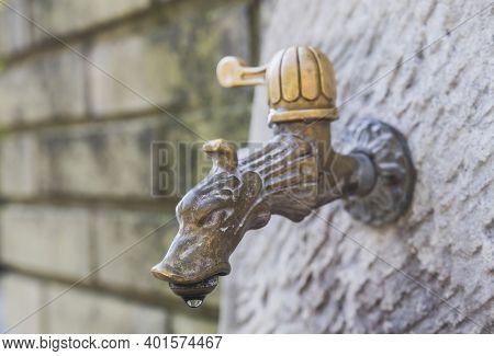 Ljubljana, Slovenia, October 2020: Dragon Head Bronze Water Faucet At The Zoo Of Ljubljana