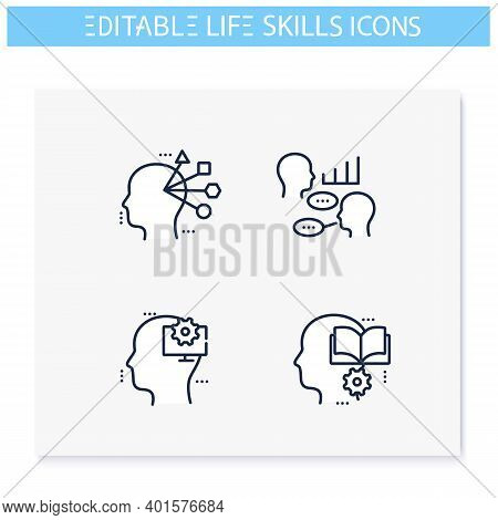 Life Skills Line Icons Set. Personality Strengths. Computer Skills, Education, Adaptability And More