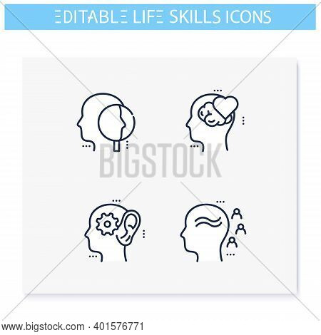Life Skills Line Icons Set.personality Strengths. Cognitivity, Influence, Emotional Intelligence And