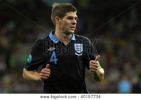 KYIV, UKRAINE - JUNE 15: Steven Gerrard of England national team during UEFA EURO 2012 game against Sweden on June 15, 2012 in Kyiv, Ukraine