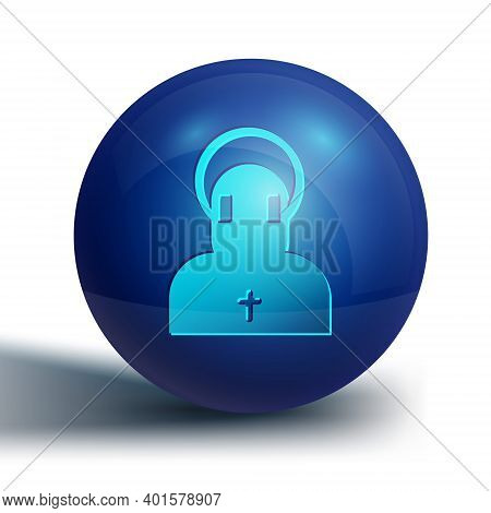 Blue Monk Icon Isolated On White Background. Blue Circle Button. Vector