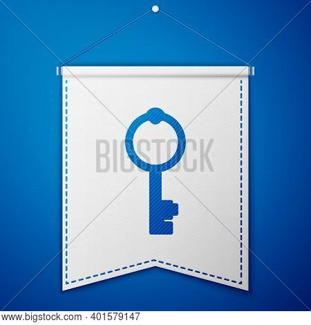 Blue Old Key Icon Isolated On Blue Background. White Pennant Template. Vector