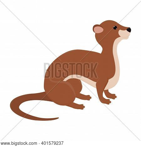 Cute Cartoon Otter, Funny Predator Animal Mascot Character Vector Illustration On A White Background