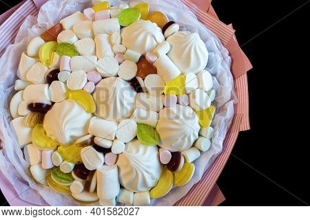A Bouquet Of Sweets From Marshmallows, Marshmallow Jelly-candies Close Up