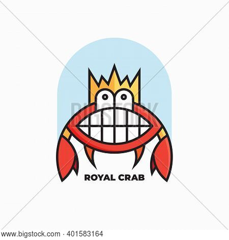 Royal Crab Logo Design. Vector Illustration Of Abstract Cute Smiling Funny Crab With Crown Isolated