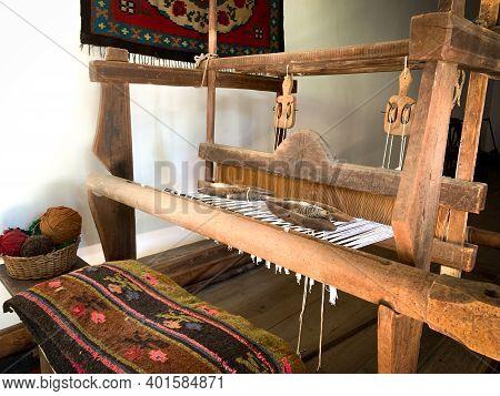 Bulgarian Traditional Handloom. Old Traditional Weaving Hand Loom For Carpets.