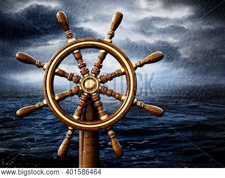 Ship Wheel Isolated On White Background. 3d Illustration.