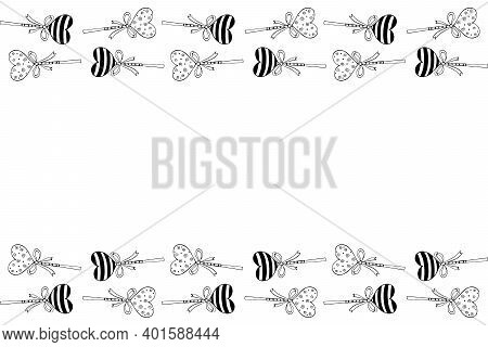 Vector Background, Frame, Border From Lollipop, Gingerbread On Stick In Shape Of Heart With Bow. Hor