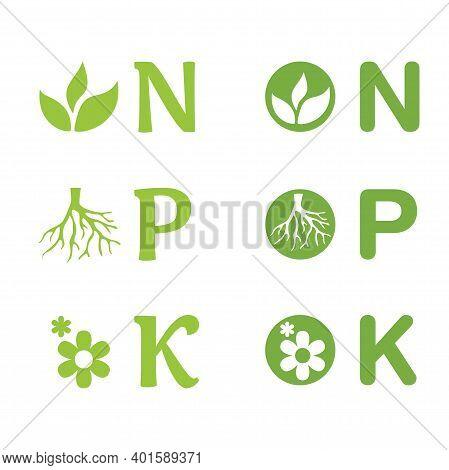 N, P, K Icons Set - Concentration Of Nitrogen, Phosporous And Potassium In Gardening Fertilizers. Nu