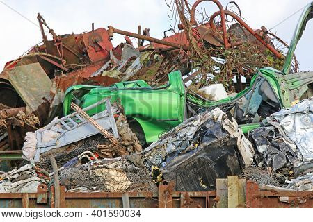 Crushed Cars In A Scrap Metal Yard For Recycling