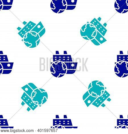 Blue Cruise Ship Icon Isolated Seamless Pattern On White Background. Travel Tourism Nautical Transpo