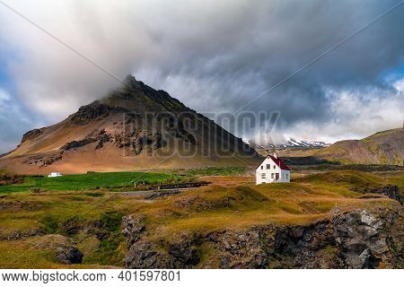 The Stapafell Mountain In Snaefellsnes Peninsula, Iceland. Stapafell Is A Volcanic Mountain On The S