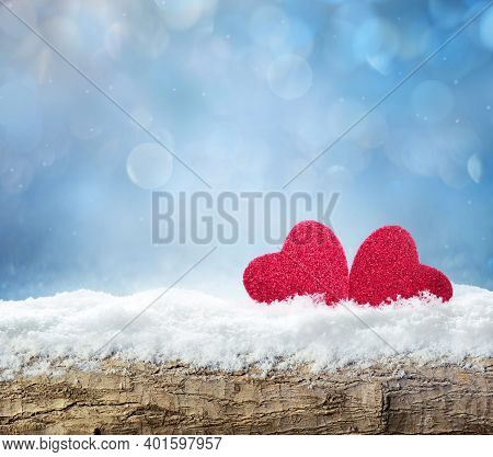 Winter Snow Bright Background. Holiday Landscape With Wood, Snowdrifts And Red Hearts In The Snow. V