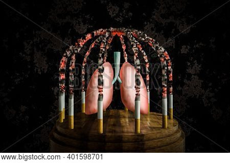 Cigarettes Lit In A Cage Shape Hold A Prisoner Lung On Wood Round Table With A Crunched Wall Backgro