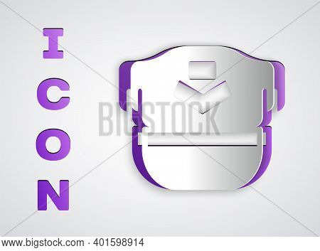 Paper Cut Pilot Hat Icon Isolated On Grey Background. Paper Art Style. Vector