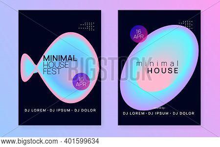 Summer Music Set. Fluid Holographic Gradient Shape And Line. Creative Trance Concert Brochure Templa