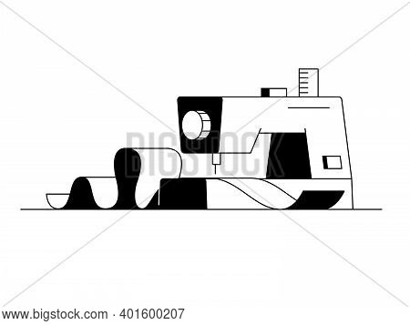 Sewing Machine Icon. Outline Vector Icon Of Modern Home Sewing Machine With A Piece Of Fabric. Black