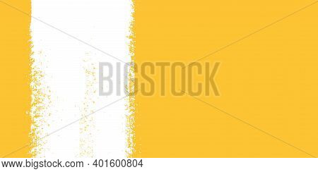 White Stripe Of Paint On Yellow Background. Strip Paint .roller Brushes With Colors Paint For Text .