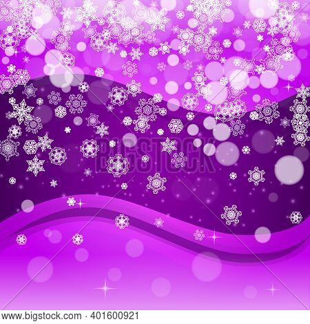 Xmas Theme Sale With Ultraviolet Snowflakes. New Year Frosty Backdrop. Winter Frame For Flyer, Gift