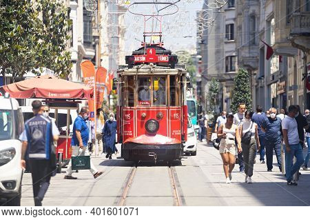 Turkey, Istanbul - June 2020 Red Famous Vintage Tram Taksim Square In Istanbul