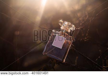 Bottle Of Female Perfume In The Sun