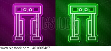 Glowing Neon Line Metal Detector Icon Isolated On Purple And Green Background. Airport Security Guar