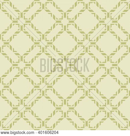 Vector Abstract Geometric Seamless Pattern In Asian Style. Elegant Green Ornament. Luxury Graphic Te
