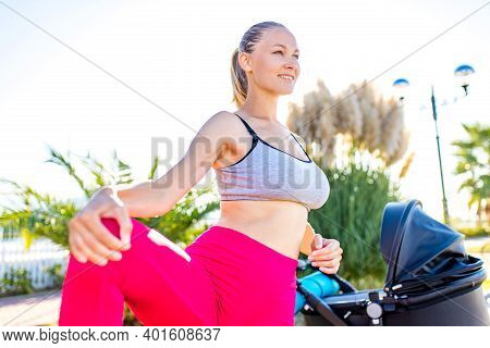 Blonde Beautiful Woman Ready To Be The Best Mother And Getting In Shape After Giving Birth In Tropic