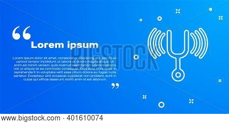 White Line Musical Tuning Fork For Tuning Musical Instruments Icon Isolated On Blue Background. Vect
