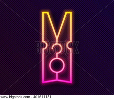 Glowing Neon Line Old Wood Clothes Pin Icon Isolated On Black Background. Clothes Peg. Vector