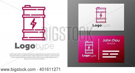 Logotype Line Bio Fuel Barrel Icon Isolated On White Background. Eco Bio And Canister. Green Environ