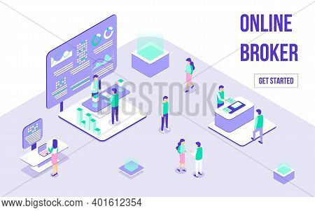 Broker Online, Forex Trading Horizontal Banner. Composition Of Trade Stall In Expo Center With Clien
